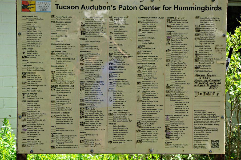 Tuscon Audubon Bird Checklist Paton Center